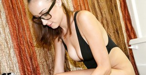 Thing ex-gf in glasses Victoria Rae exposing big natural tits in bathroom