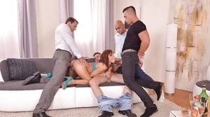 European redhead Tina Hot fucking and sucking big dicks during gangbang
