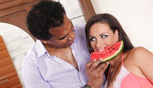 Brunette Mea Melone giving BBC BJ for cumshot in whip cream filled mouth