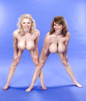 Leggy dykes Christy Marks and gf flaunt huge juggs with legs behind head