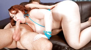 Redhead fatty Felicia Clover offering big white ass to big cock for banging