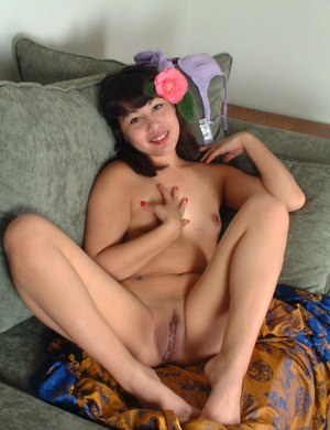 Korean amateur Mellissa loosing flat chest and hairy snatch from lingerie