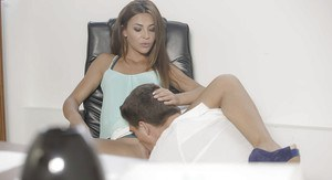 Hot chick Alexis Brill sporting cumshot on pussy after office fucking