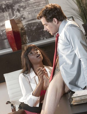 Black office worker Ana Foxxx sucking of co-workers big cock for cumshot