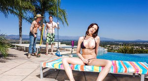 MILF Chanel Preston caught masturbating by pool before MMF threesome fuck