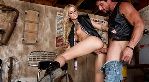 Sexy blonde Jessa Rhodes and fucking large cock in leather vest and gloves