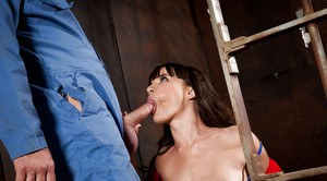 Brunette MILF Dana DeArmond fucks male prisoner with big cock in jail cell