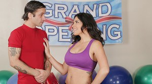 Dark haired Latina Danica Dillon displays round tits while fucking big cock