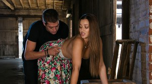 Girl next door Dani Daniels baring small boobs while penetrated by big cock