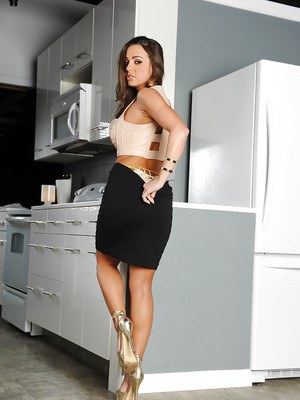 Hot wife Abigail Mac sliding black skirt over phat ass and long legs