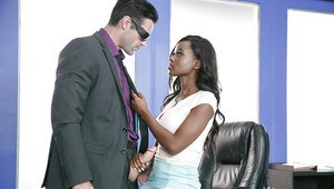 Busty black dime Jezabel Vessir giving BJ before hot office fucking