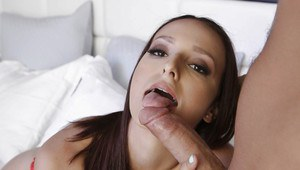 Busty wife Lexi Luna fucking large cock while her husband sleeps beside her