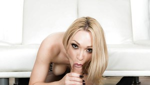 Blonde wife Lily Labeau giving big cock messy BJ before ass fucking