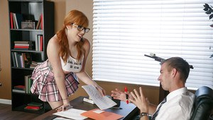 Redhead schoolgirl Lauren Phillips frees big natural tits for BJ in glasses