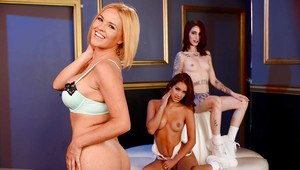 Lesbos Krissy Lynn, Sheena Rose, and Uma Jolie lick pussy in all girl 3some