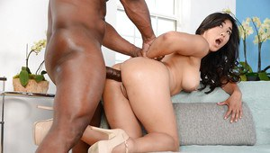 Tiny Asian chick Mia Li taking brutal butt fucking from large black cock