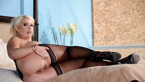 Thick MILF pornstar Alura Jenson stripping down to black stockings