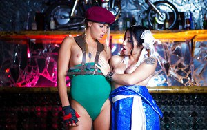 Euro and Asian dykes Christen Courtney and Rina Ellis hump in cosplay wear