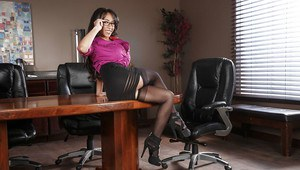 Mexican lady Priya Price revealing nice melons on office desk in stockings