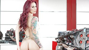 Redhead MILF Monique Alexander releases large tits and tattoos from uniform