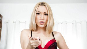 Hot blonde wife Lily Labeau toying pussy while masturbating in stockings