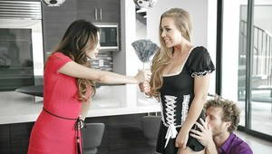Blonde maid Nicole Aniston exposing big tits before sucking cock in kitchen