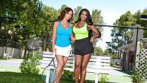 Busty moms Nikki Benz and Diamond Jackson spread lesbian vaginas outdoors