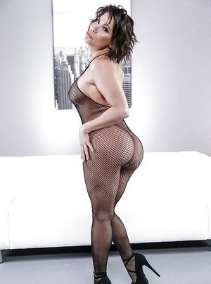 Latina model Aleksa Nicole loosing big booty from mesh bodystocking