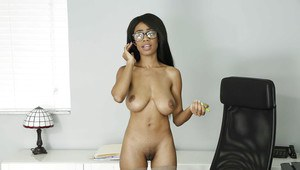 Ebony chick Brittney White exposing large teen tits in skirt and glasses