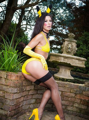 Euro pornstar Patty Michova modeling outdoors in cosplay attire and nylons