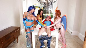 European pornstars in cosplay costumes give massive dick oral sex outdoors