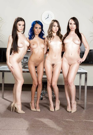 Leggy pornstars in revealing lingerie undress for all girl orgy in heels