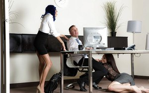 Leggy pornstars coerce office worker with big cock to shoot cum on faces