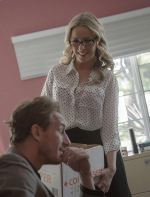 Blonde secretary Karla Kush fucking on office desk in glasses