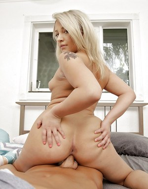 Tiny blond girl Veronica Dean taking hardcore doggystyle fuck from big dick
