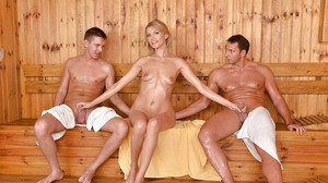 Wet and leggy Euro girl Karina Grand taking anal while giving BJ in sauna