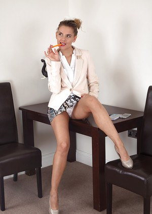 Leggy MILF Regina flashing up skirt lace panties in high heels