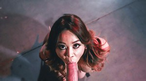 Busty Asian MILF giving large dick oral sex for cumshot on tongue