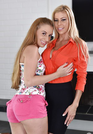 Older blonde Alexis Fawx and teen girl Ashlynn Taylor undress each other