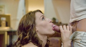 Topless Euro chick Victoria Daniels taking cumshot after BJ on knees
