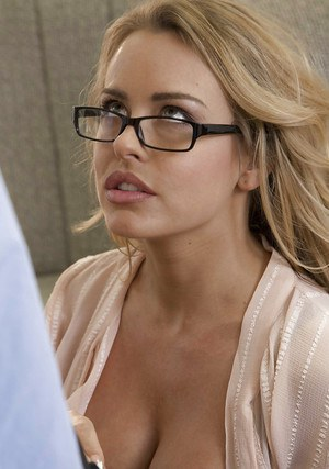 Busty blonde Corrina Blake taking cum on tits after sucking cock in glasses