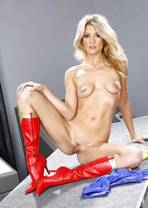Blonde pornstar Amanda Tate flashing ass in boots and cosplay uniform