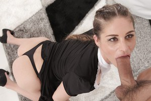 European MILF Cathy Heaven giving massive cock oral sex on knees