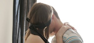 Blindfolded teen Anna Taylor taking anal penetration while giving blowjob
