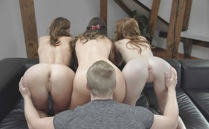 3 hotties with tight asses give 1 lucky guy a BJ before pussy eating