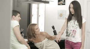Naughty older mom teaching teen stepdaughter how to suck off cock