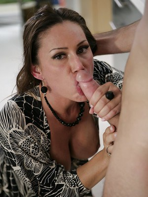 Clothed cougar in high heels giving long cock oral sex before kitchen fuck