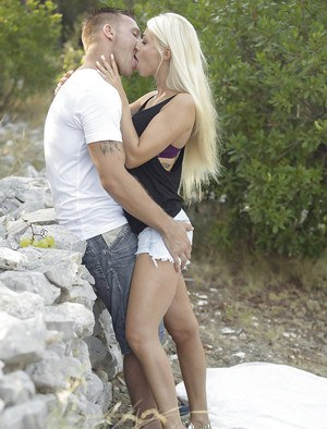 European chick Chloe Lacourt taking doggystyle anal sex outdoors in woods