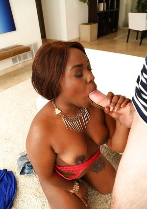Naked black girl Miss Mary Jane taking cum facial after giving BJ on knees