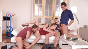 European mom Cathy Heaven receiving ass fucking while sucking dick